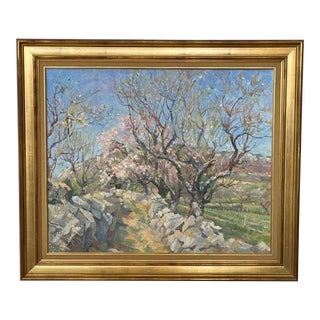 French Spring Landscape Oil Painting by Rene' Cottet For Sale
