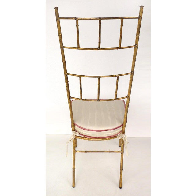 Faux Bamboo 1970s Vintage Bagues Style Italian Gilt Iron High-Back Chairs- A Pair For Sale - Image 7 of 12