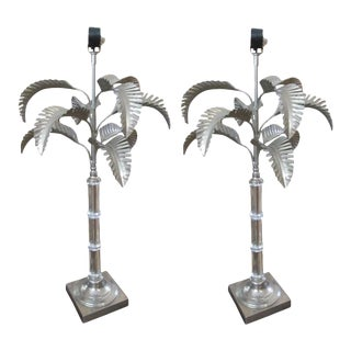 One Pair Silvered Metal and Crystal Table Lamps in the Form of Palm Trees For Sale