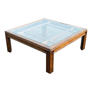 Faux Bamboo Square Coffee Table For Sale