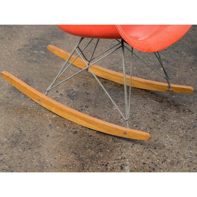 Eames Orange Armchair on Rocker Base For Sale - Image 9 of 11