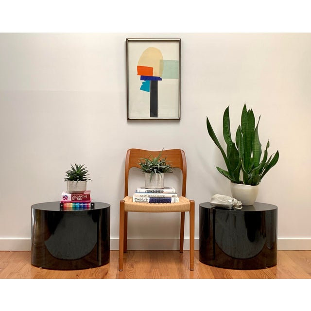 Black 1980s Black Laminate Oval Drum Tables-A Pair For Sale - Image 8 of 11
