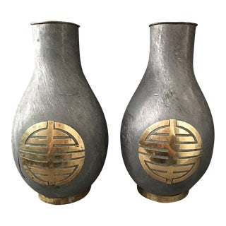 Chinoiserie Solid Iron & Brass Urns - a Pair