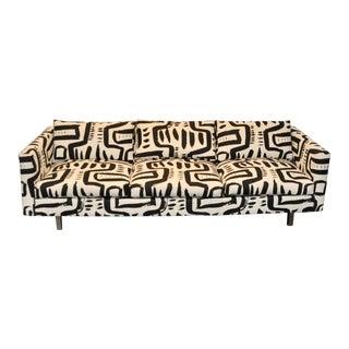 Mid Century Modern Tuxedo Sofa in Custom Made Fabric For Sale