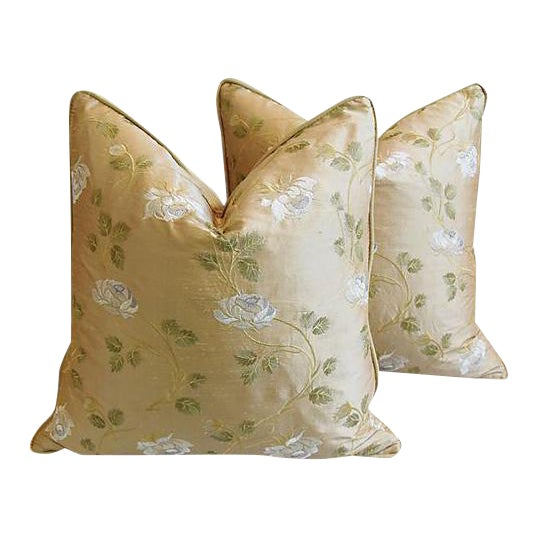 """24"""" Custom Tailored Embroidered White Rose Silk Feather/Down Pillows - Pair For Sale"""