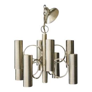 Gaetano Sciolari for Lightolier Muted Brass Light Bronze Chandelier For Sale
