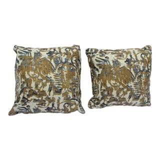Contemporary Printed Linen Navy Blue and Bronze Down Pillows - a Pair For Sale