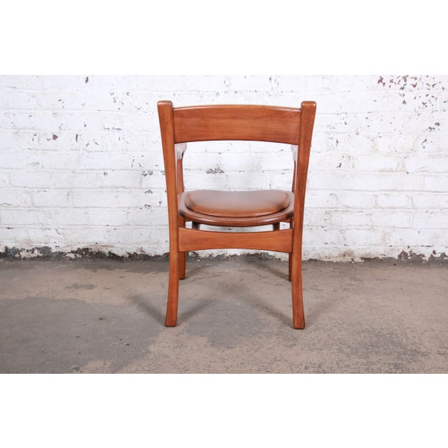 1960s Sculpted Solid Teak and Leather Studio Crafted Club Chairs - a Pair For Sale - Image 12 of 13