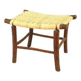 American Old Hickory Foot Stool For Sale