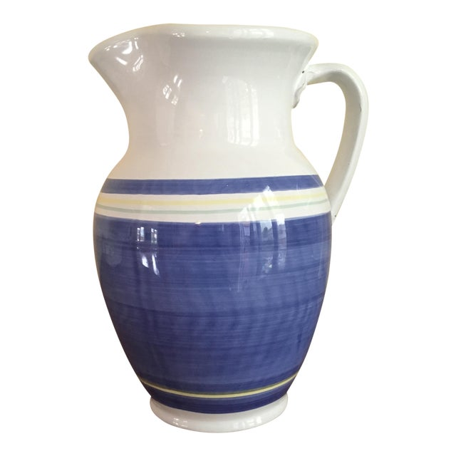 Blue & White Earthenware Pitcher For Sale