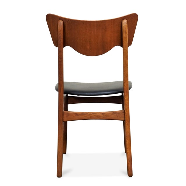 "1950s Original Danish Mid Century Modern Teak Dining Chair - Set of 5 - ""Paul"" For Sale - Image 5 of 10"