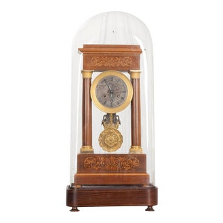 Fine 19th Century Marquetry-Inlaid Satinwood and Gilt-Bronze Portico Clock For Sale