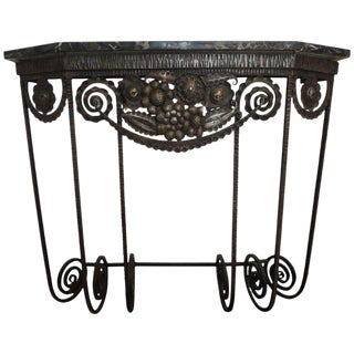 1930s French Art Deco Wrought Iron Console For Sale