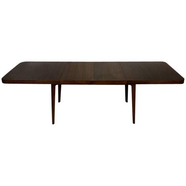 Stunning Midcentury Edward Wormley for Drexel Walnut Extension Dining Table For Sale - Image 11 of 11