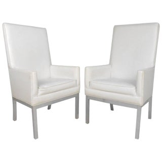 Vintage Modern High Back Vinyl Armchairs - A Pair For Sale