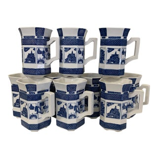 Blue & White Chinoiserie Coffee Mugs - a Set 10 For Sale