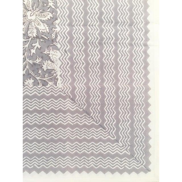Boho Chic European Handmade Block Print Tablecloth For Sale - Image 3 of 5
