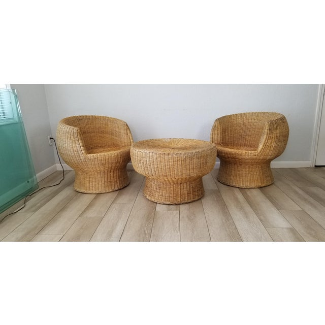 1960's Postmodern Eero Aarino Attributed Wicker Chairs and Coffee Table - Set of 3. For Sale - Image 13 of 13