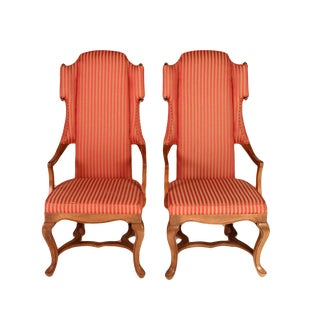 Drexel Wingback Arm Chairs - a Pair For Sale