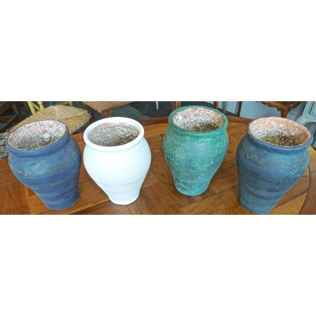 Four French 19th Century Provence Terra-cotta Hand Painted Pots.