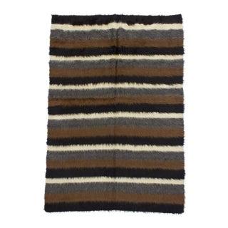 1960s Vintage Turkish Black Striped Blanket Kilim Rug - 4′6″ × 6′6″ For Sale