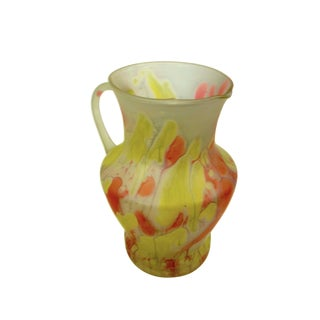 Handblown Druze Hand Stained Satin Glass Water Pitcher