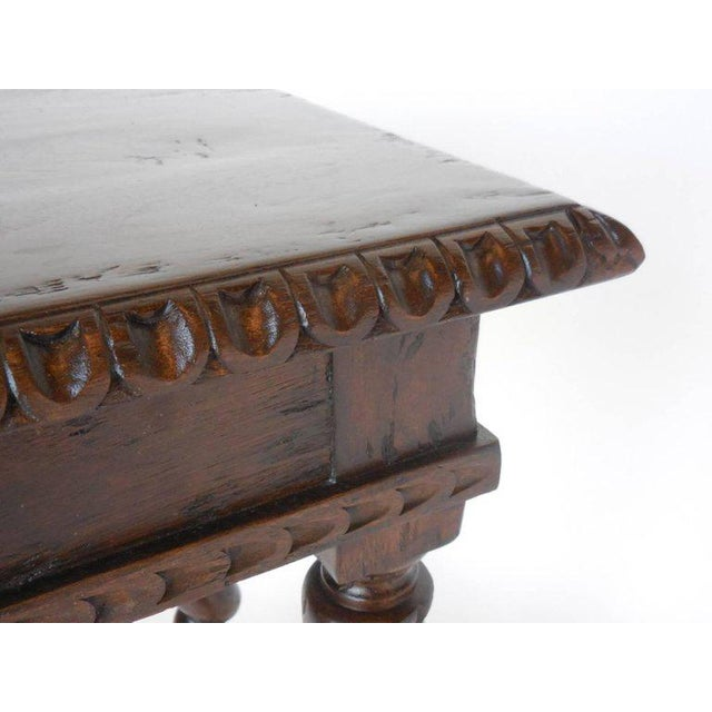 Custom Hand-Carved Walnut Writing Desk with Pencil Drawer For Sale - Image 4 of 7