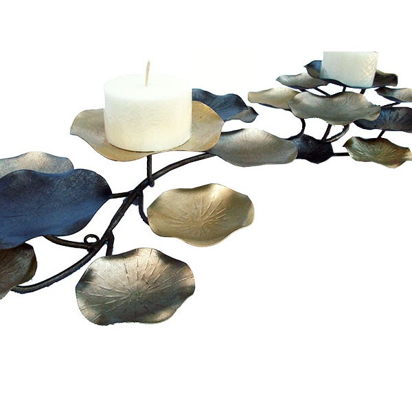 Contemporary Metal Lilypad Candle Holder Sculpture For Sale - Image 3 of 6