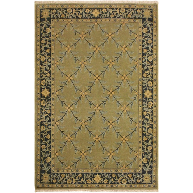 Charcoal Semi Antique Istanbul Hortenci Lt. Green/Charcoal Turkish Hand-Knotted Rug -4'2 X 6'0 For Sale - Image 8 of 8
