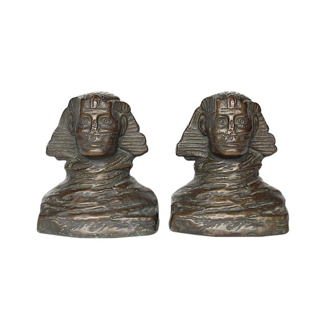 1920s art Deco Armor Bronze Sphinx Bookends - a Pair For Sale
