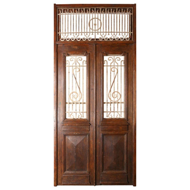 Set of French Painted Double Entry Door With Iron Insert For Sale - Image 11 of 11