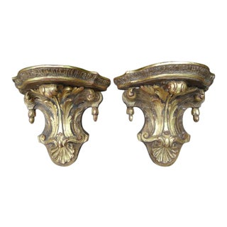 19th Century Italian Giltwood Wall Brackets - a Pair For Sale
