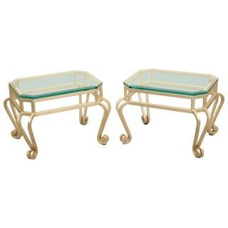Pair of Silver Leaf Low Tables With Beveled Glass Tops, Late 20th Century For Sale