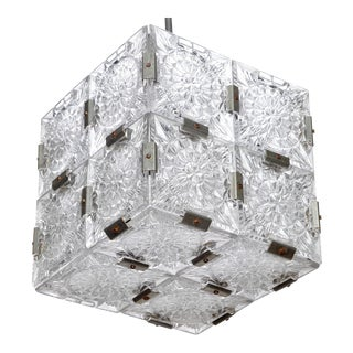 Mid-Century Glass Cube Pendant Light in the style of Kalmar