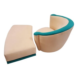 Kagan Corkscrew Swivel Chair and Ottoman For Sale