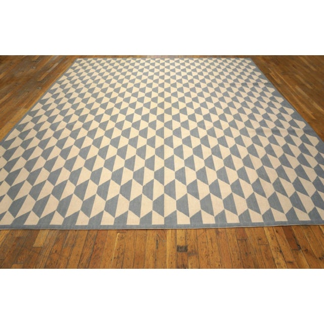 """Modern Needlepoint Wool Rug 9'0"""" X 12'0"""" For Sale - Image 4 of 9"""