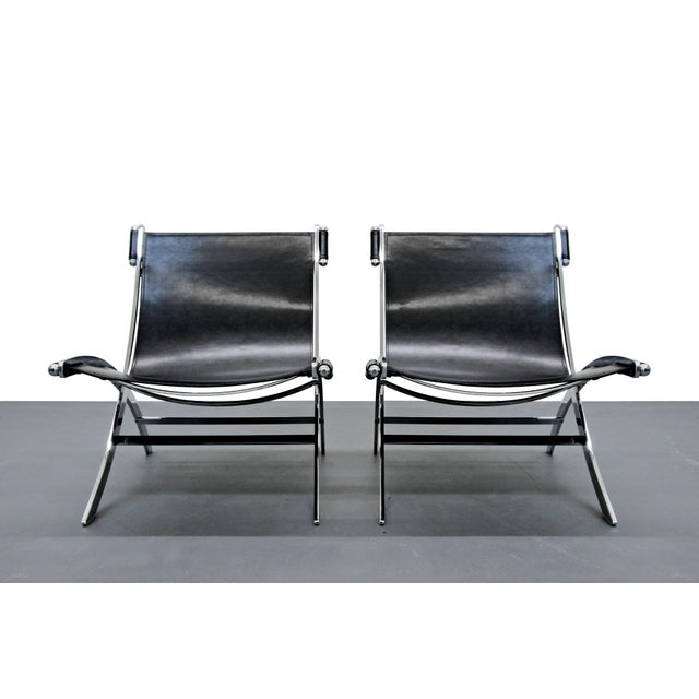 Italian Chrome & Leather Sling Scissor Chairs - A Pair - Image 4 of 8