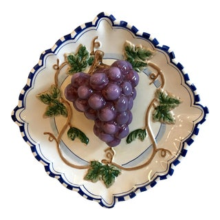 20th Century Cottage Trompe L' Oeil Ceramic Grape Plate For Sale