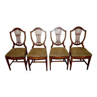 Antique Inlaid Mahogany Shield Back Dining Chairs - Set of 4 For Sale