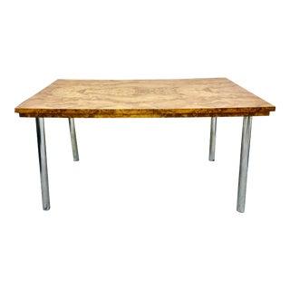 Vintage Mid Modern Burl & Chrome Table For Sale