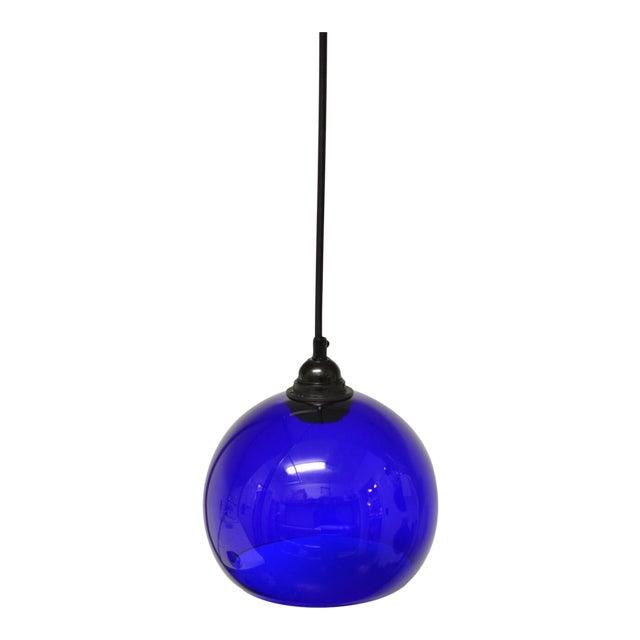 Mid-Century Modern Blue Glass Pendant Light - Image 1 of 6
