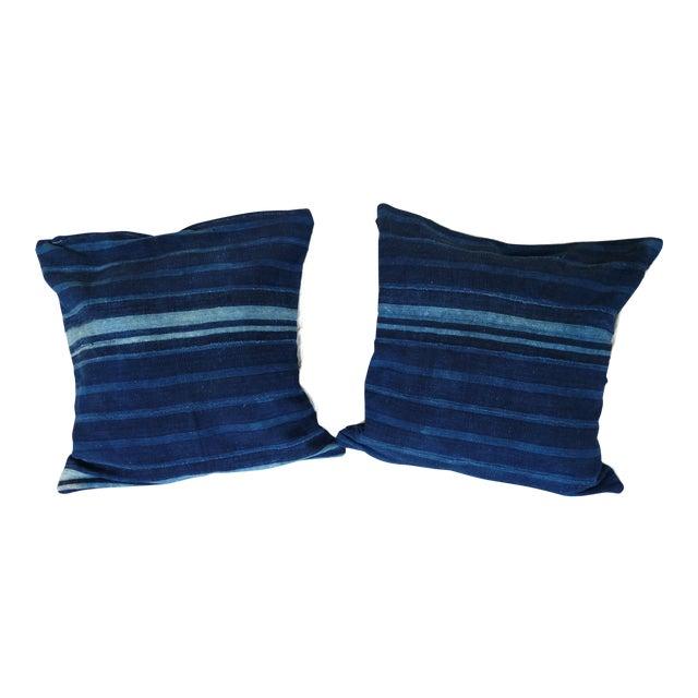 Vintage African Mudcloth Indigo Pillows - A Pair - Image 1 of 4