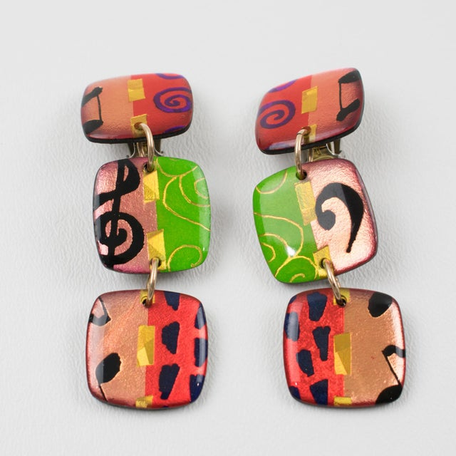 Italian Italian Dangling Lucite Clip on Earrings Multicolor Harlequin Pattern For Sale - Image 3 of 6