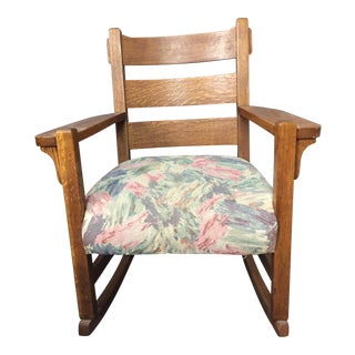 1900s Antique Mission Style Oak Rocking Chair For Sale