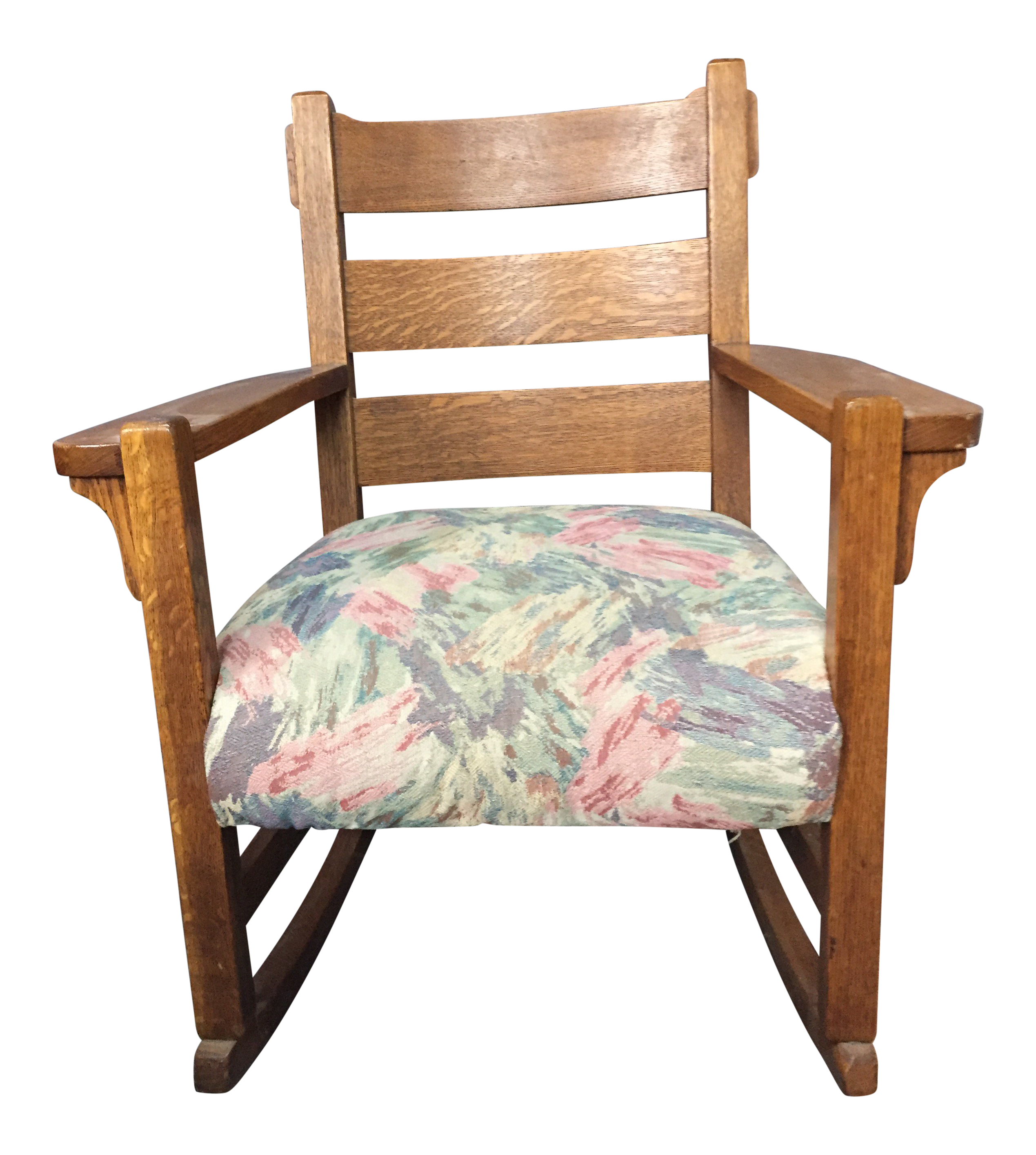 1900s Antique Mission Style Oak Rocking Chair