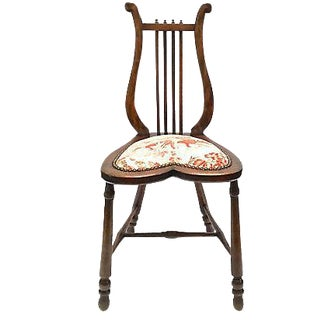 Antique Lyre-Back Slipper Chair For Sale