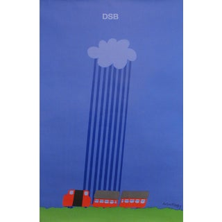 1975 Original Danish Railway Poster, Rain Cloud For Sale