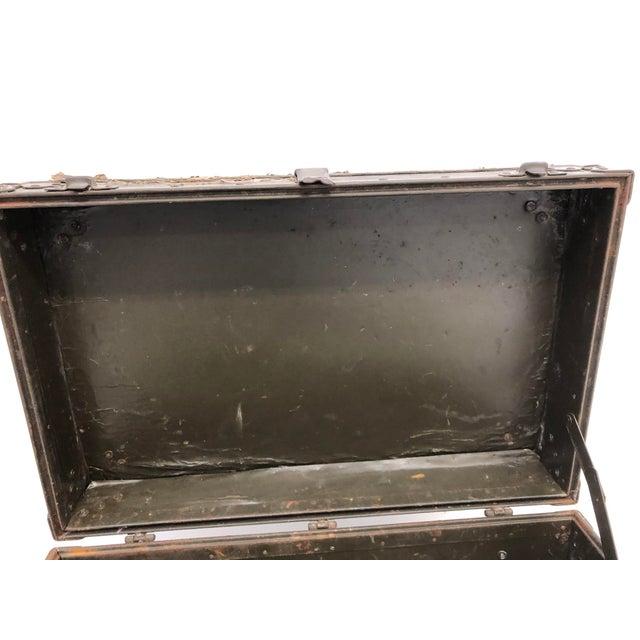 Metal Vintage Industrial Green Military Foot Locker Trunk For Sale - Image 7 of 13