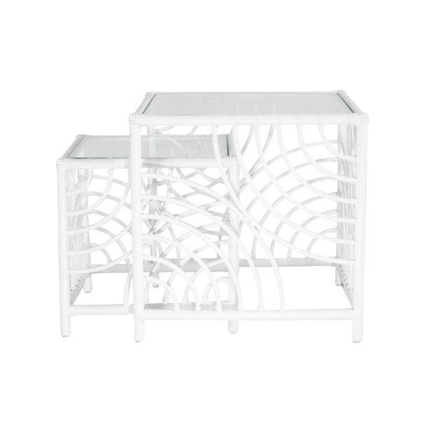 Wood Swirl Nesting Tables - White For Sale - Image 7 of 7