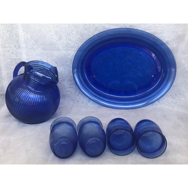 Blue Vintage Cobalt Blue Glass Lemonade Set- 6 Pieces For Sale - Image 8 of 13